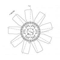 Helice Dtro. 600 / 9 Aspas / Ccw // Motor: Om 904a / La 167 Hp / Om 904la 150hp - Camiones Livianos 712c - 914c - 1621- Accel