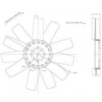 Hélice Dtro. 433 / 11 Aspas / Cw Mb - Ford - Gm //  Motor: Om 014a / Maxion Hds 2.5 - 2.8 Power Stroke/ 2.5l I4112hp - 2.5l