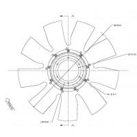 Hélice Dtro. 609 / 9 Aspas / Cw // Motor: Cummins Isbe4 - App: Cargo 1317e - 1517e - 1717e - Nueo Cargo: 1317, 1319, 1517, 1
